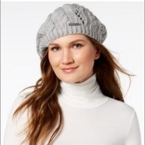 Michael Kors Soft Cable Beret in gray